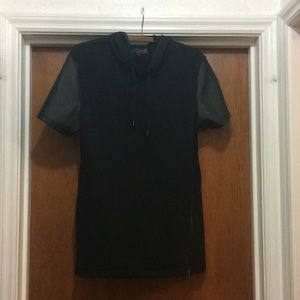 Black  asymmetrical zipper hoodie dress